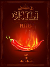 Chili Pepper In Fire Hot Sauce Poster Or Logo