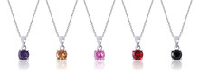 Multi Colored Diamond Pendant With Necklace On White Background