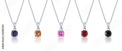 Fotografie, Obraz multi colored diamond pendant with necklace on white background