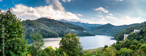 Widely panoramic view of the Goygol - lake in Azerbaijan located in the reserve Canvas Print