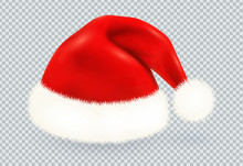 Red Santa Claus Vector Winter Hat With White Fur Isolated On Transparency Grid Background