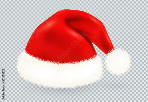 Photo  Red Santa Claus vector winter hat with white fur isolated on transparency grid b