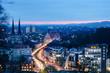 canvas print picture - Bielefeld in der blauen Stunde, Aussicht vom Johannisberg