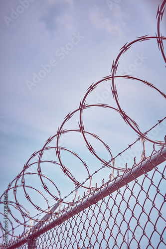 Fotomural Color toned picture of a razor barbed wire fence against the sky, imprisonment concept, selective focus