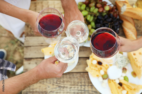 Friends holding glasses of wine over picnic table at vineyard, top view
