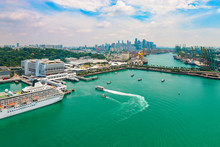 Aerial View Of Port Of Singapore, Asia