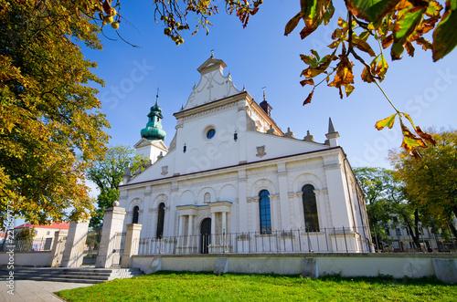 White church in Zamosc, Poland