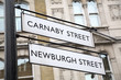 Carnaby and Newburgh Street Sign; London