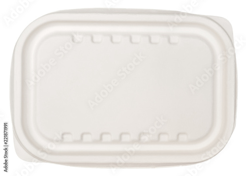 Microwavable natural fibre container isolated on white background, top view Wallpaper Mural