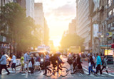 Fototapeta Nowy Jork - Man riding bike crosses intersection with crowds of people on 23rd Street and 6th Avenue in Manhattan with the bright sunlight background