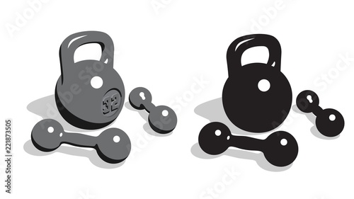 Fotografia Retro vintage weights and dumbbells for strength athletic training