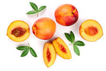 Ripe Nectarine With Leaves Isolated On White Background. Top View. Flat Lay Pattern