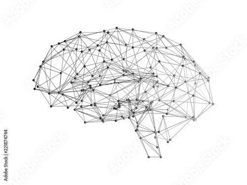 Leinwand Poster Digital data and network connection of human brain on white background in the fo