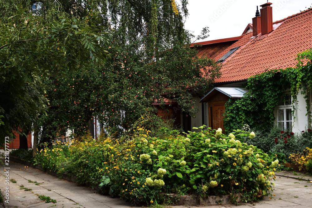 Fototapeta piękny stary dom otoczony wspaniałym ogrodem