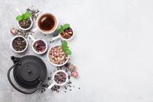 Various Tea And Teapot. Black,...