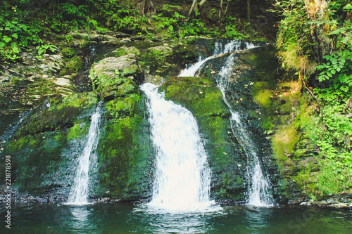 Poster Natuur The nature of Ukrainian Carpathians. Summer. Green trees. Waterfall and the bay