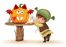 Cartoon Little Kid Preparing F...