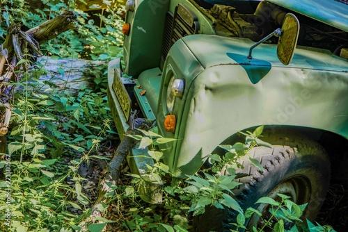 Fotografie, Obraz  Safari car damaged in the forest