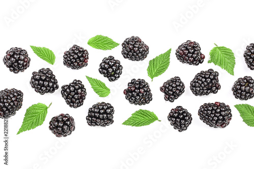Fényképezés  Fresh blackberry with leaves isolated on white background with copy space for your text