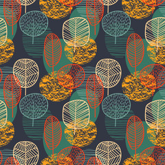 Fototapeta Inspiracje na jesień Abstract autumn seamless pattern with trees. Vector background for various surface.