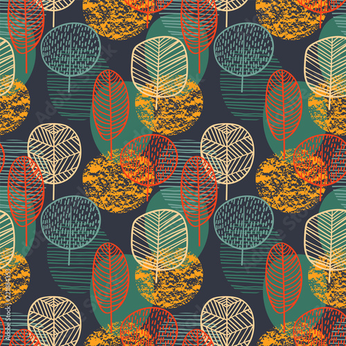 Fototapeta Abstract autumn seamless pattern with trees. Vector background for various surface. obraz