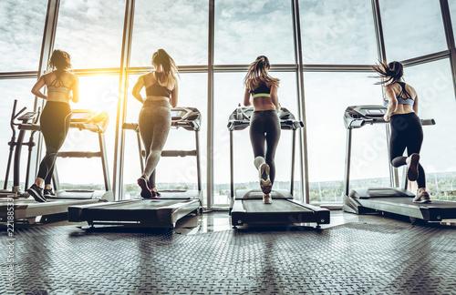 Deurstickers Fitness shot of four women jogging on treadmill at health club.