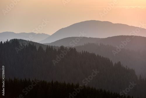 Poster Zwart Forest Mountain Range Scene at Sunrise. Mountain panoramic landscape.