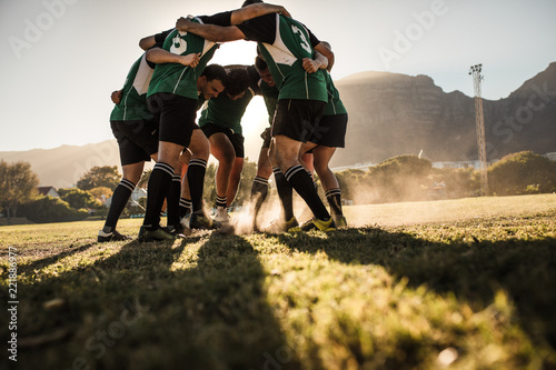 Rugby team showing aggression after the win