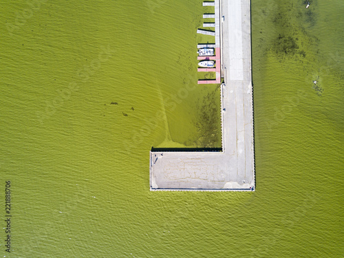 Aerial view of algae bloom on Lake Champlain, St. Albans Bay, St. Albans Vermont.