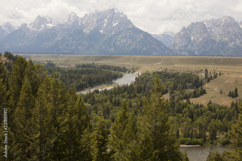 Fotografia  View of the Tetons and Snake River from the spot Ansel Adams made famous