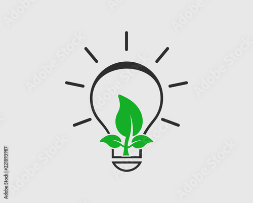 Eco green energy Icon.  Plant growing inside light bulb. Fototapet