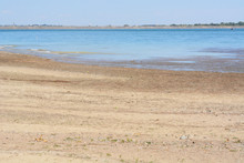 Low Water Level At Lake Standley Reservoir In Westminster Colorado During Increasing Drought Conditions