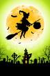 Leinwandbild Motiv Halloween Funny Background with Witch and Haunted House.