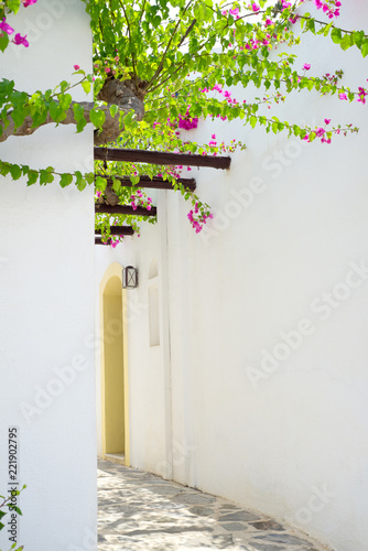 Spoed Foto op Canvas Smal steegje Traditional narrow alley in Crete island, Greece