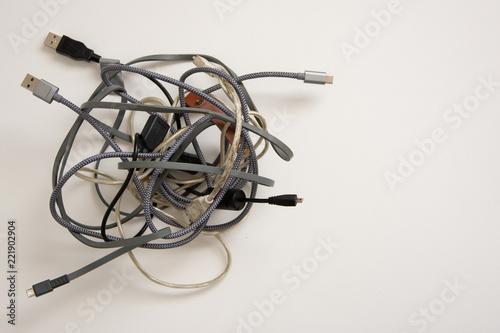 Fotografie, Obraz  tangled ball of cords