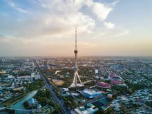 Tashkent TV Tower Aerial Shot ...