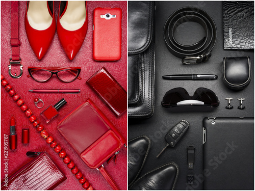 Fototapeta Woman and man accessories, fashion industry, modern life concept, clothes, shoes, gadget, jewelry, cosmetic, other luxury objects on red and black leather background  obraz