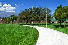 Suburan Park With Sidewalk In ...