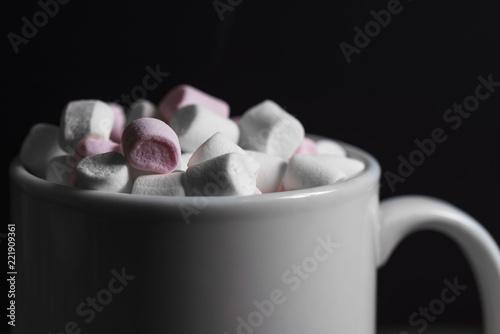 Photo  hot chocolate with marshamallow