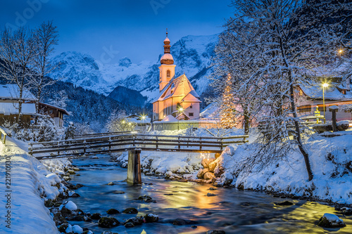 Foto op Aluminium Europa Church of Ramsau in winter twilight, Bavaria, Germany