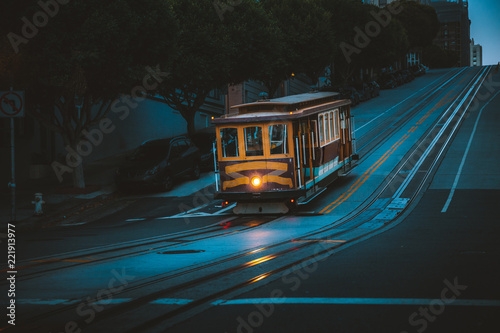 Historic San Francisco Cable Car on California Street at twilight, California, USA
