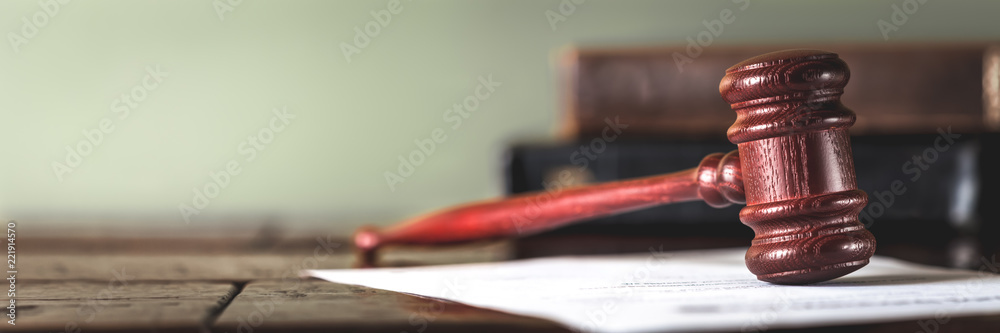 Fototapety, obrazy: Wooden gavel and books on wooden table, law concept