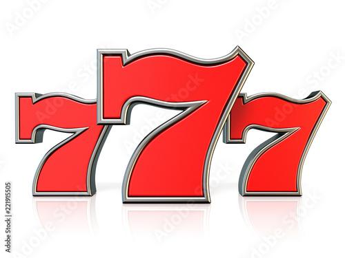 Tela Red 777 lucky jackpot symbol 3D