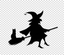 Black Silhouette Of Witch Flyi...