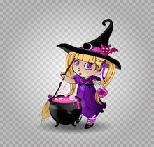 Little Blonde Baby Witch Girl In Purple Dress With Broom And Cauldron On White Background Clip Art