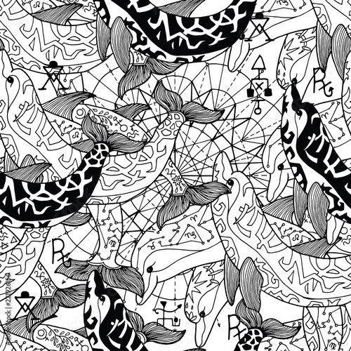 Foto op Aluminium Draw Seamless pattern with black and white decorated dolphins. Esoteric, occult and mysterious concept with sacred geometry elements, graphic vector illustration