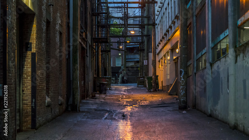 Fototapeta Empty dark and scary back alley. Desolated area in one of the most vibrant cities in North America. The alley is in the vicinity of the well known