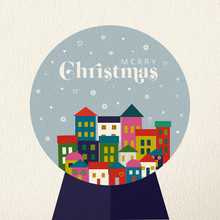 Christmas Vintage Card Of Retro Holiday Snow Globe