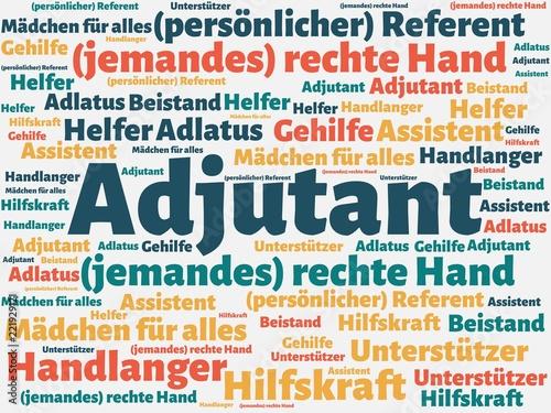 Das Wort - Adjutant - abgebildet in einer Wortwolke mit zusammenhängenden Wörter Wallpaper Mural