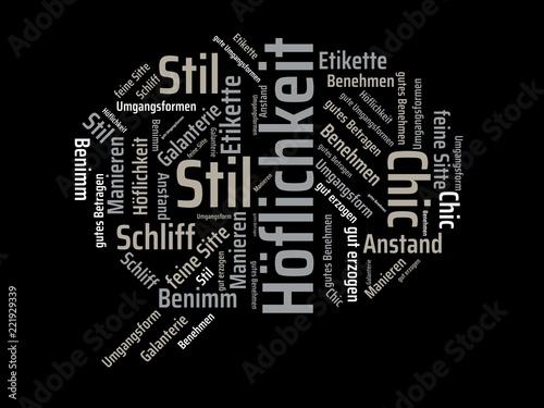 Fotografie, Obraz  Das Wort - Höflichkeit - abgebildet in einer Wortwolke mit zusammenhängenden Wör